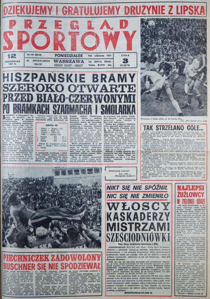 Okładka Przeglądu Sportowego po meczu NRD - Polska (11 października 1981)