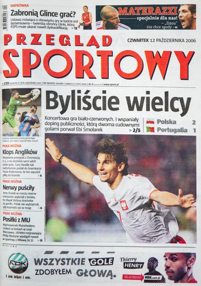 Okładka przeglądu sportowego po meczu Polska - Portugalia (11 października 2006)