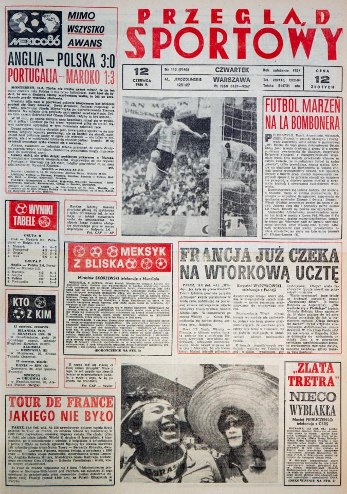 Okładka przeglądu sportowego po meczu Polska - Anglia (11 czerwca 1986)