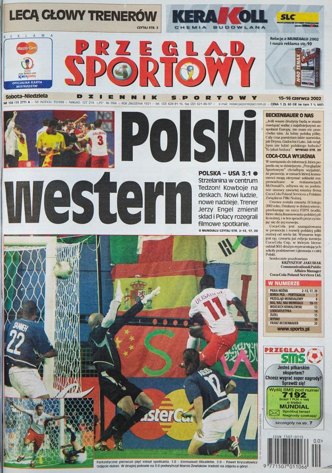 Okładka przeglądu sportowego po meczu Polska - USA (14.06.2002)