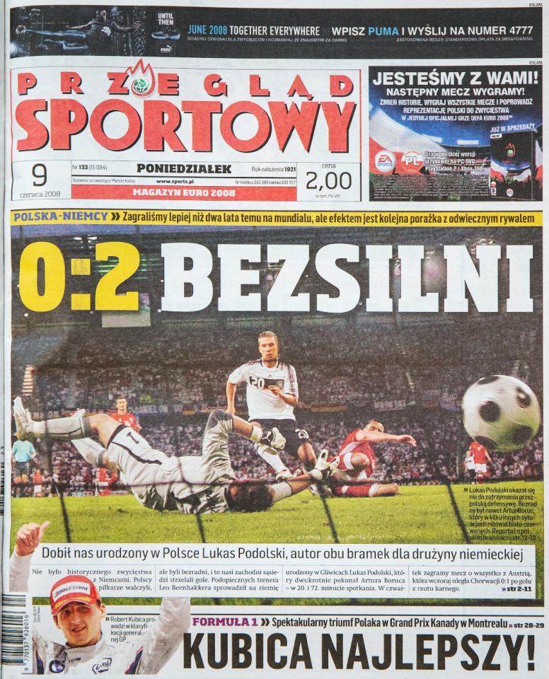 Okładka przeglądu sportowego po meczu Polska - Niemcy (08.06.2008)