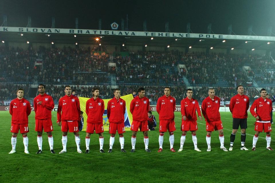 Reprezentacja Polski przed meczem ze Słowacją w Bratysławie.