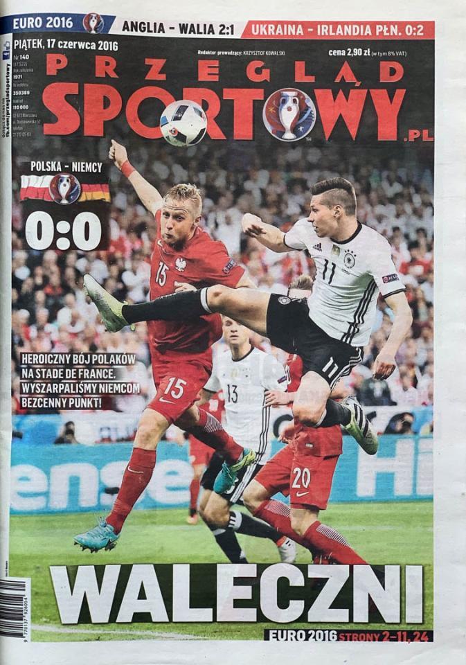 Okładka przeglądu sportowego po meczu Polska - Niemcy (16.06.2016)