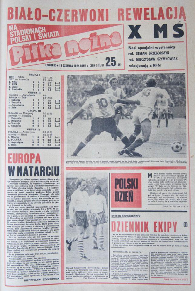 Okładka Piłki Nożnej po meczu Polska - Argentyna (18.06.1974)