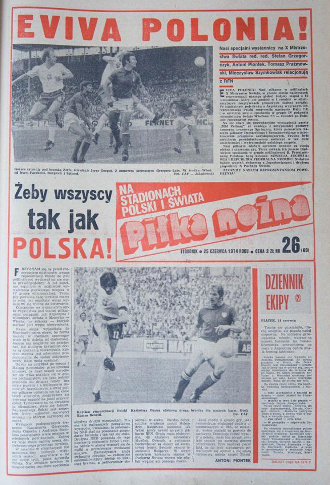 Okładka Piłki Nożnej po meczu Polska - Włochy (25.06.1974)