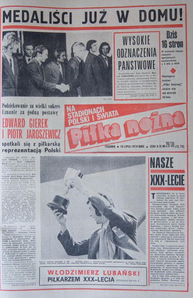 Okładka Piłki Nożnej po powrocie Polaków do kraju z MŚ (16.07.1974)