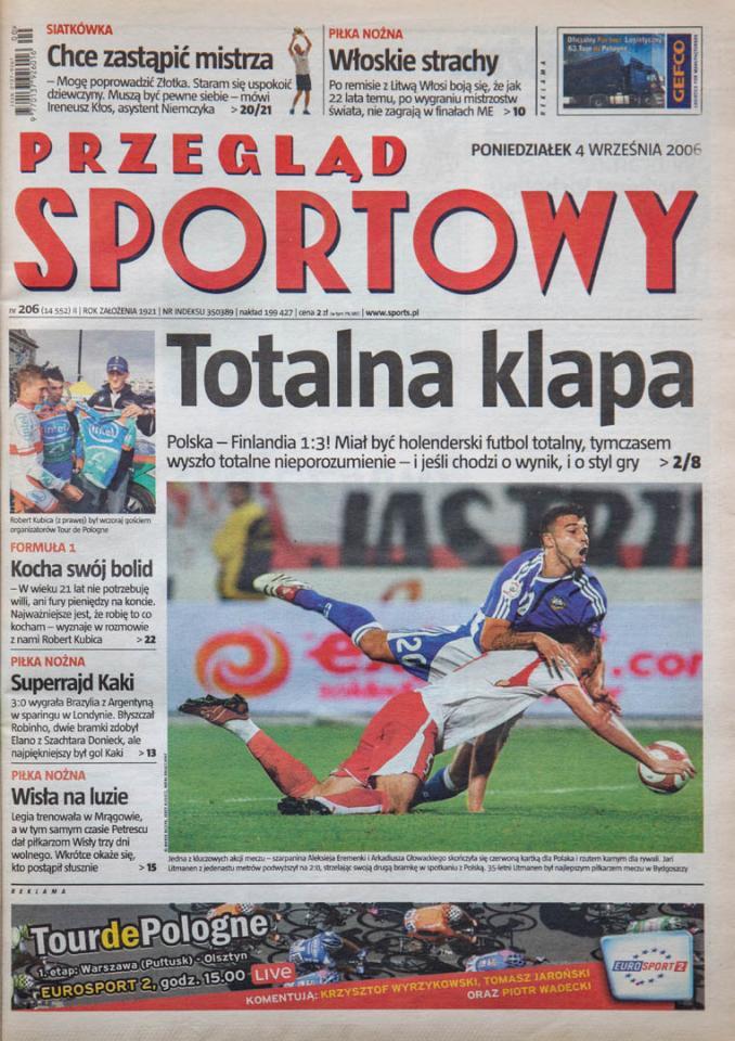 Okładka przeglądu sportowego po meczu Polska - Finlandia (2.09.2006)
