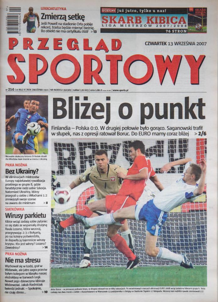 Okładka przeglądu sportowego po meczu Finlandia - Polska (12.09.2007)