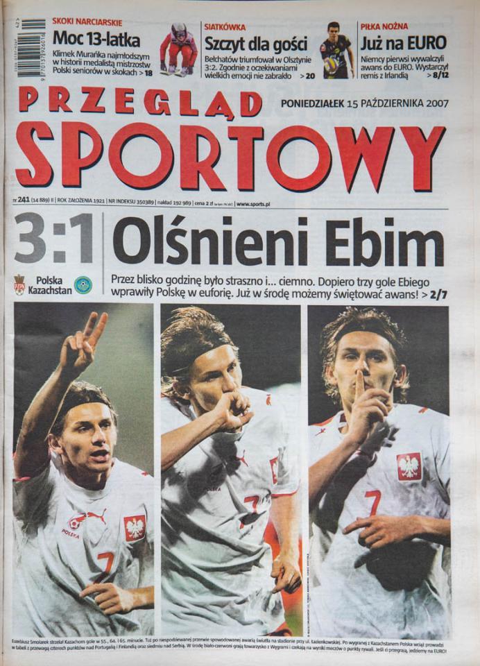 Okładka przeglądu sportowego po meczu Polska - Kazachstan (13.10.2007)