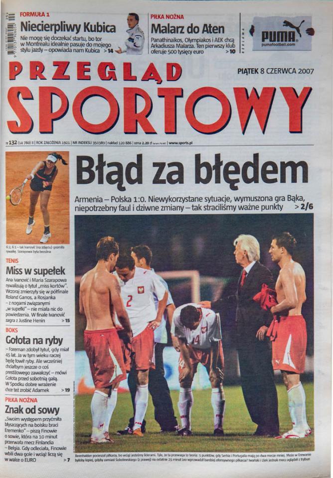 Okładka przeglądu sportowego po meczu Armenia - Polska (7.06.2007)