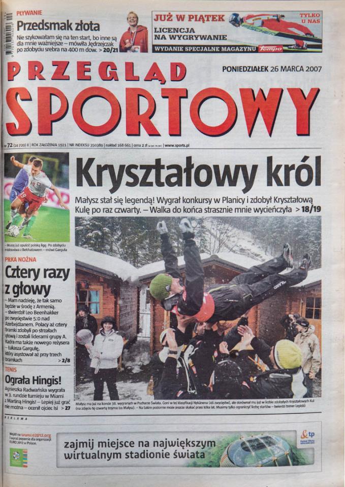 Okładka przeglądu sportowego po meczu Polska - Azerbejdżan (24.03.2007)