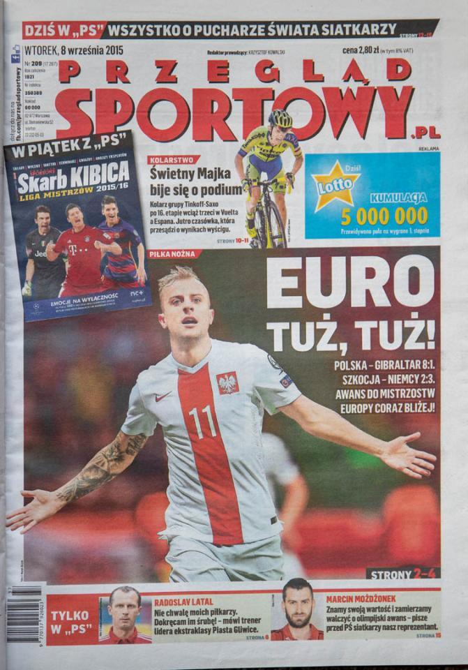 Okładka przeglądu sportowego po meczu Polska - Gibraltar (7.09.2015)
