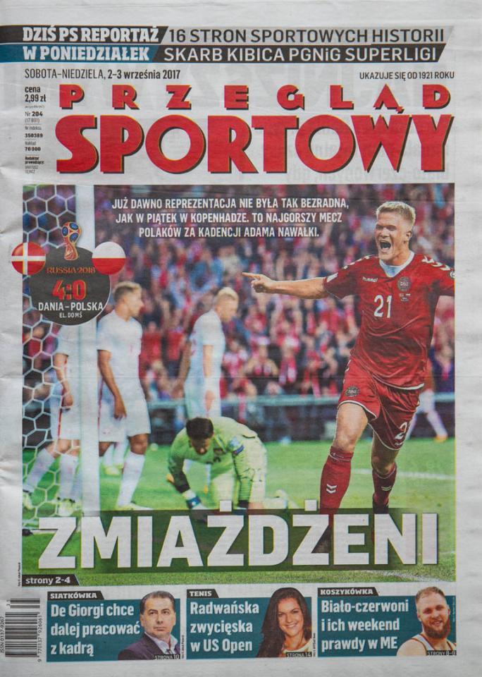 Okładka przeglądu sportowego po meczu Dania - Polska (01.09.2017)