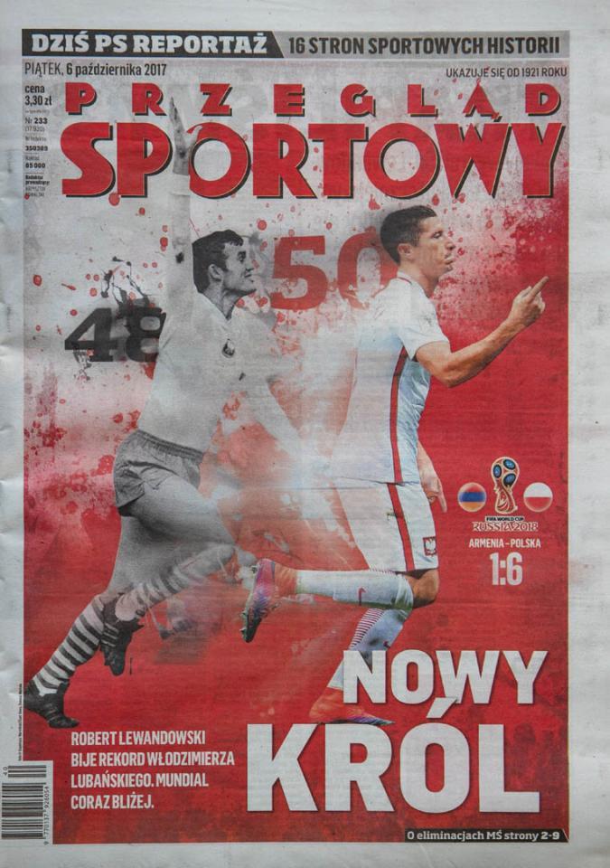 Okładka przeglądu sportowego po meczu Armenia - Polska (5.10.2017)