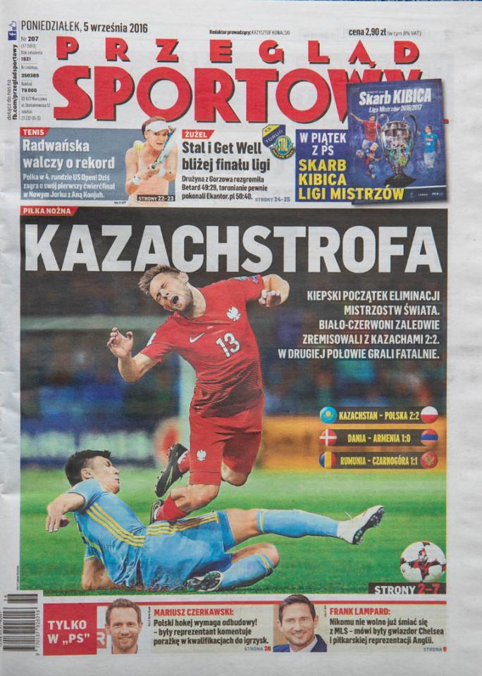 Okładka przeglądu sportowego po meczu Kazachstan - Polska (4.09.2016)