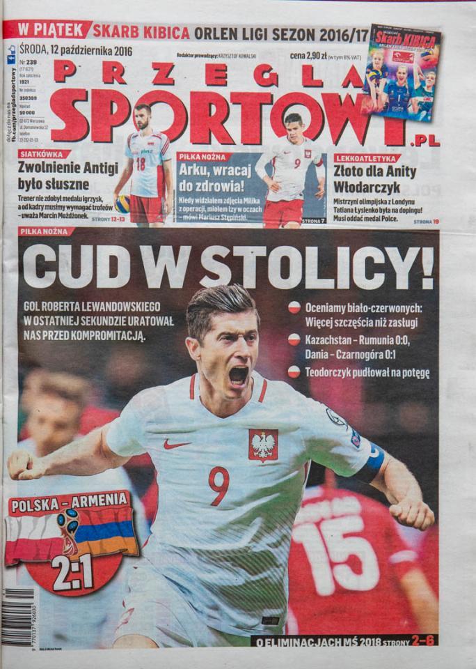 Okładka przeglądu sportowego po meczu Polska - Armenia (11.10.2016)