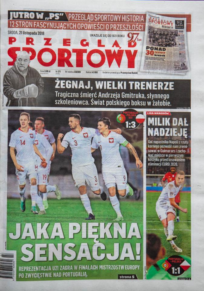 Okładka przeglądu sportowego po meczu Portugalia - Polska (20.11.2018)