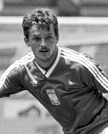 Jan Karaś podczas meczu z Brazylią