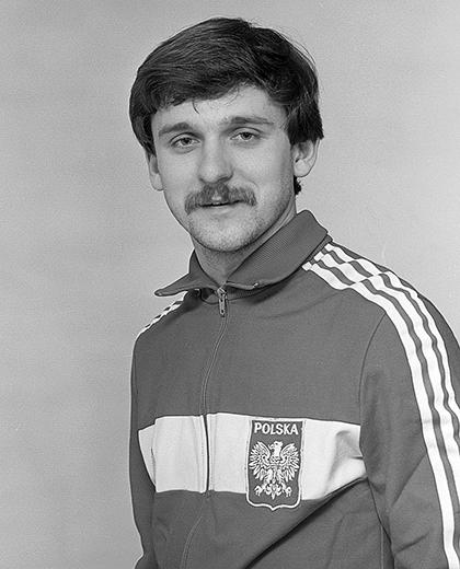 Andrzej Pałasz w dresie reprezentacji Polski.