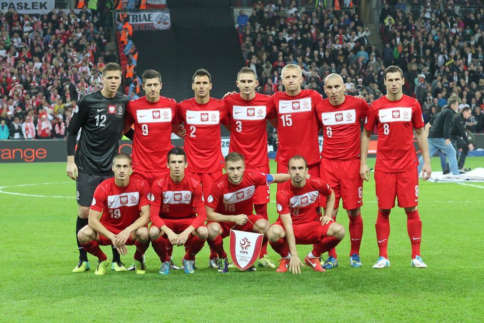 Reprezentacja Polski przed meczem z Anglią na Wembley.