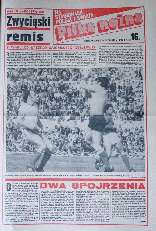Okładka piłki nożnej po meczu Włochy - Polska (19.04.1975)