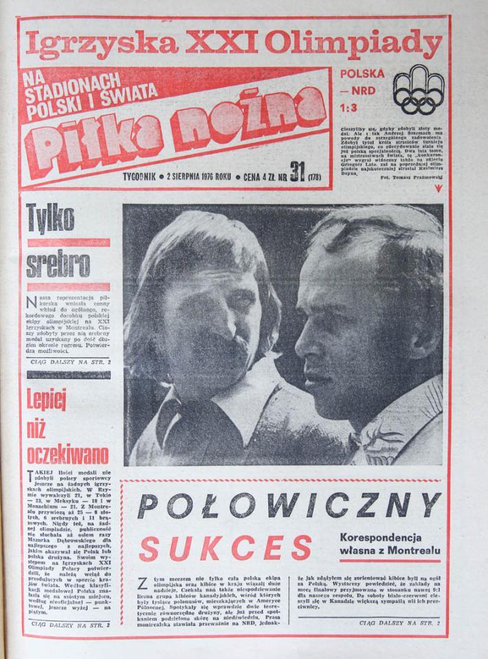 Okładka piłki nożnej po meczu Polska - NRD (31.07.1976)