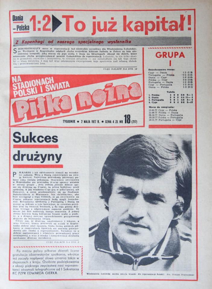 Okładka piłki nożnej po meczu Dania - Polska (01.05.1977)