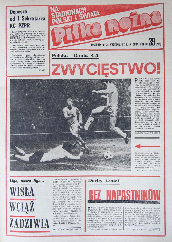 Okładka piłki nożnej po meczu Polska - Dania (21.09.1977)