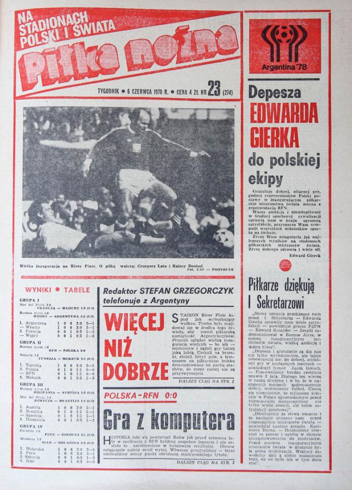 Okładka piłki nożnej po meczu RFN - Polska (01.06.1978)
