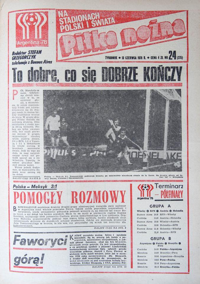 Okładka piłki nożnej po meczu Polska - Meksyk (10.06.1978)