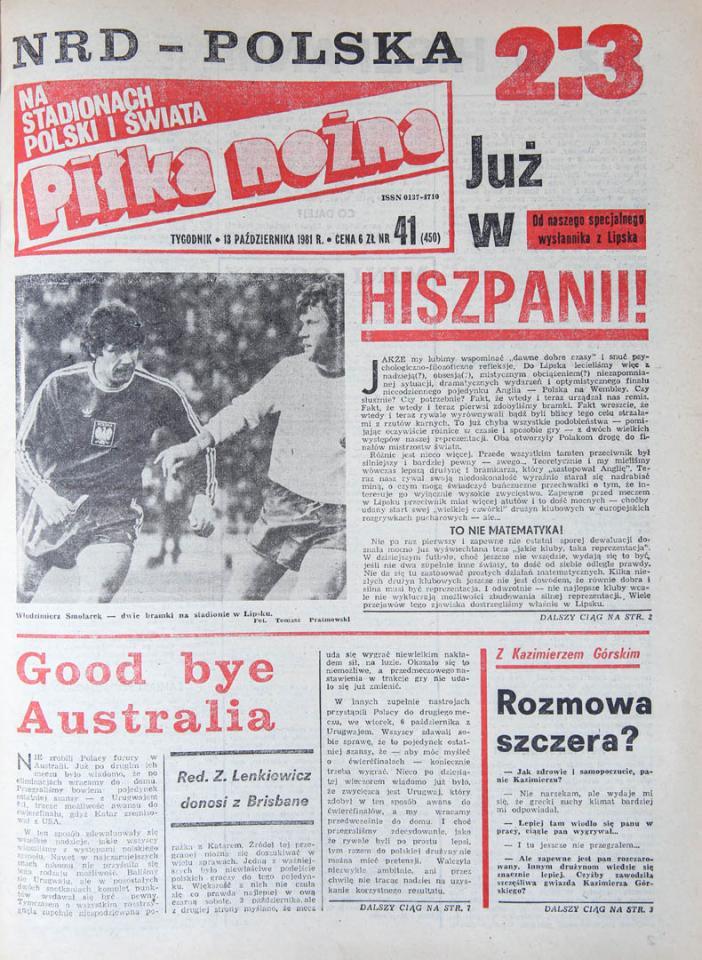 Okładka piłki nożnej po meczu NRD - Polska (10.10.1981)