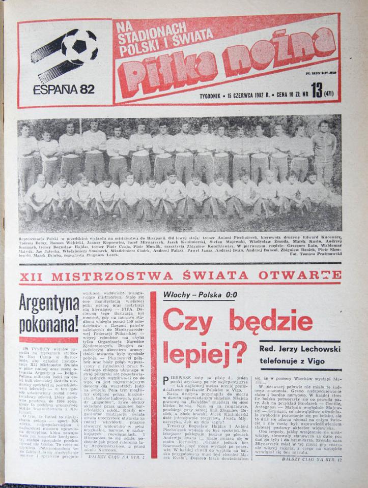 Okładka piłki nożnej po meczu Polska - Włochy (14.06.1982)