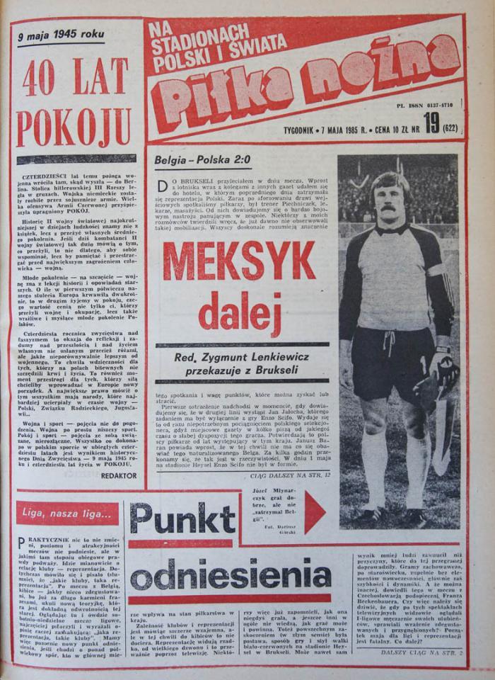 Okładka piłki nożnej po meczu Belgia - Polska (01.05.1985)