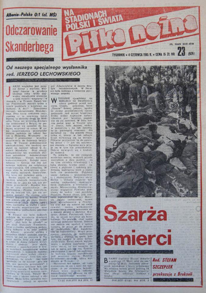 Okładka piłki nożnej po meczu Albania - Polska (30.05.1985)
