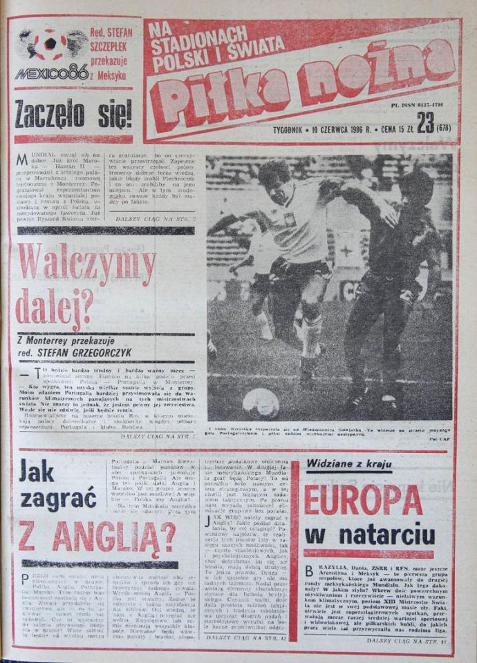 Okładka piłki nożnej po meczu Polska - Portugalia (07.06.1986)