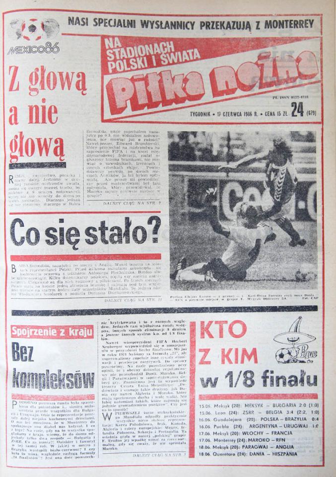 Okładka piłki nożnej po meczu Polska - Brazylia (16.06.1986)
