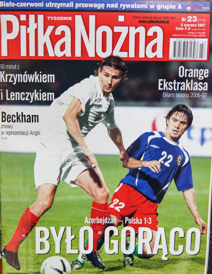 Okładka piłki nożnej po meczu Azerbejdżan - Polska (02.06.2007)