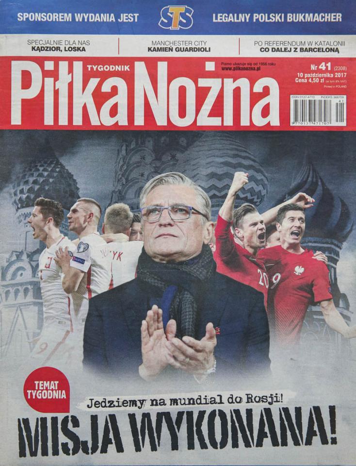 Okładka piłki nożnej po meczu Polska - Czarnogóra (08.10.2017)
