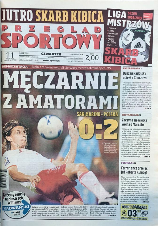 Okładka przeglądu sportowego po meczu san marino - polska (10.09.2008)