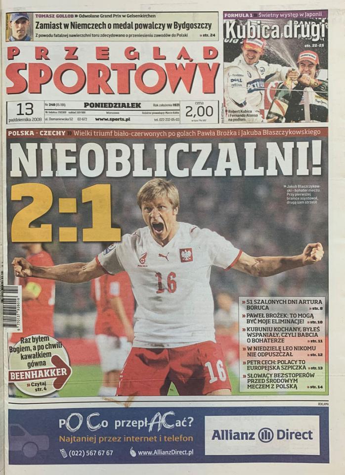 Okładka przeglądu sportowego po meczu Polska - Czechy (11.10.2008)