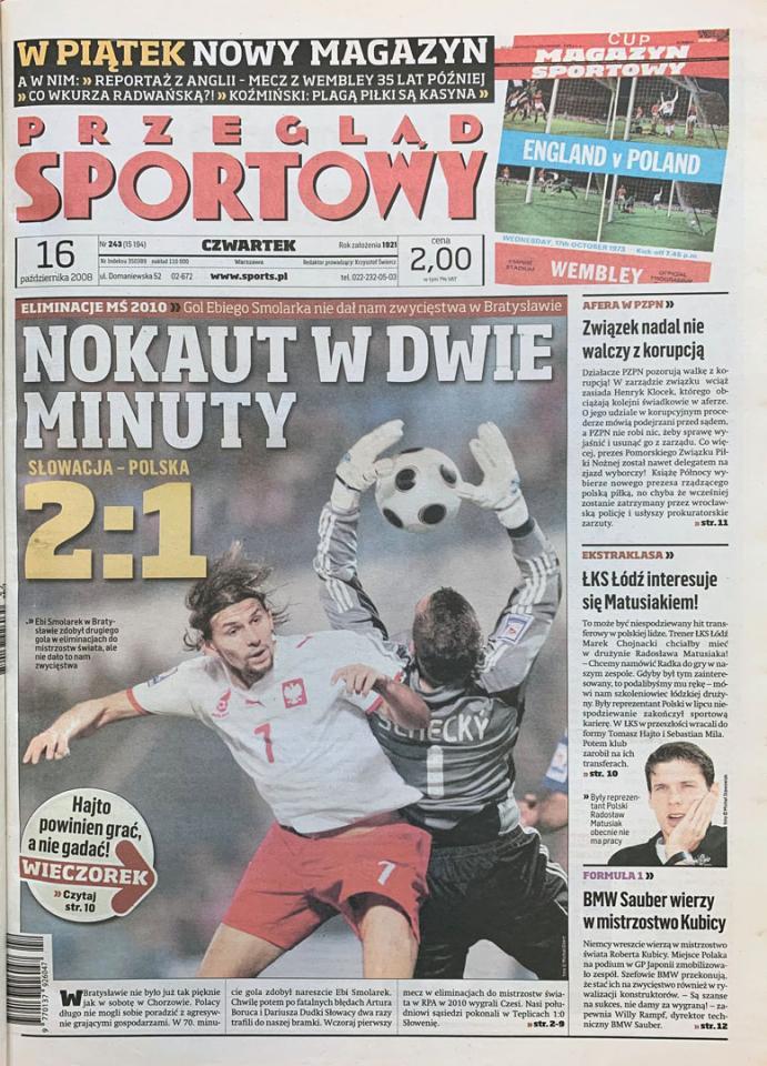 Okładka przeglądu sportowego po meczu Słowacja - Polska (15.10.2008)