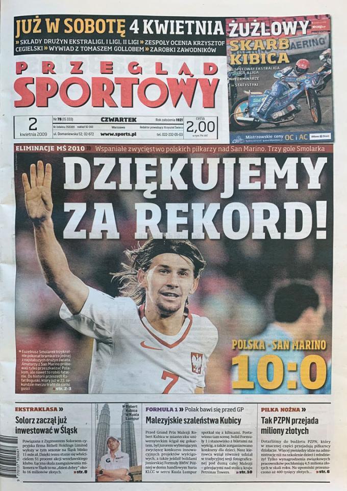 Okładka przeglądu sportowego po meczu Polska - San Marino (01.04.2009)