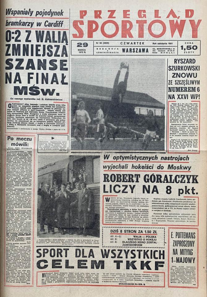 Okładka przeglądu sportowego po meczu Walia - Polska (28.03.1973)