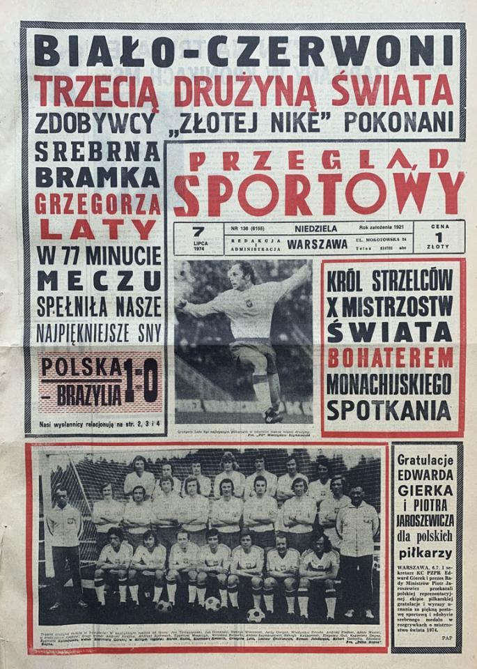 Okładka przeglądu sportowego po meczu Polska - Brazylia (06.07.1974)