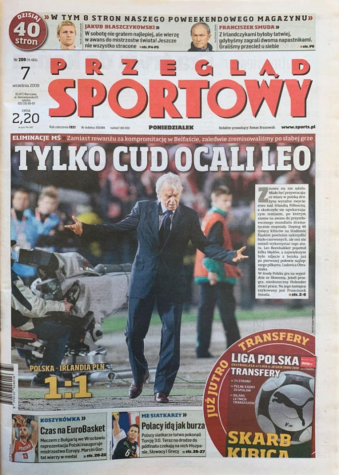 Okładka przeglądu sportowego po meczu Polska - Irlandia Północna (05.09.2009)