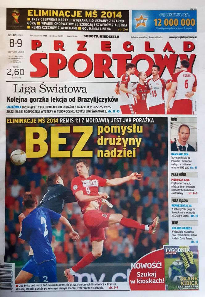 Okładka przeglądu sportowego po meczu Mołdawia - Polska (07.06.2013)