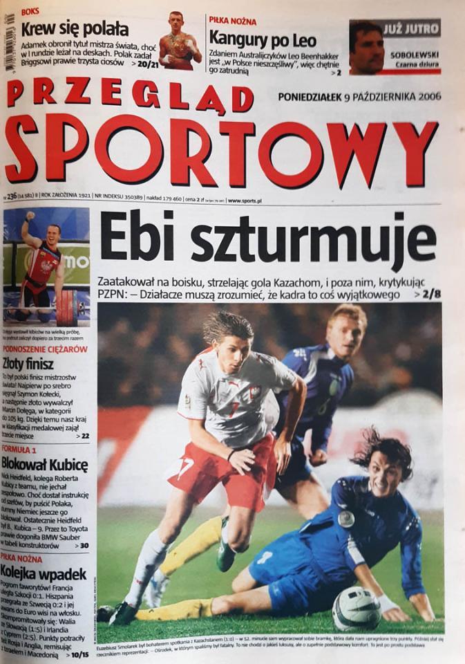 Okładka przeglądu sportowego po meczu Kazachstan - Polska (07.10.2006)