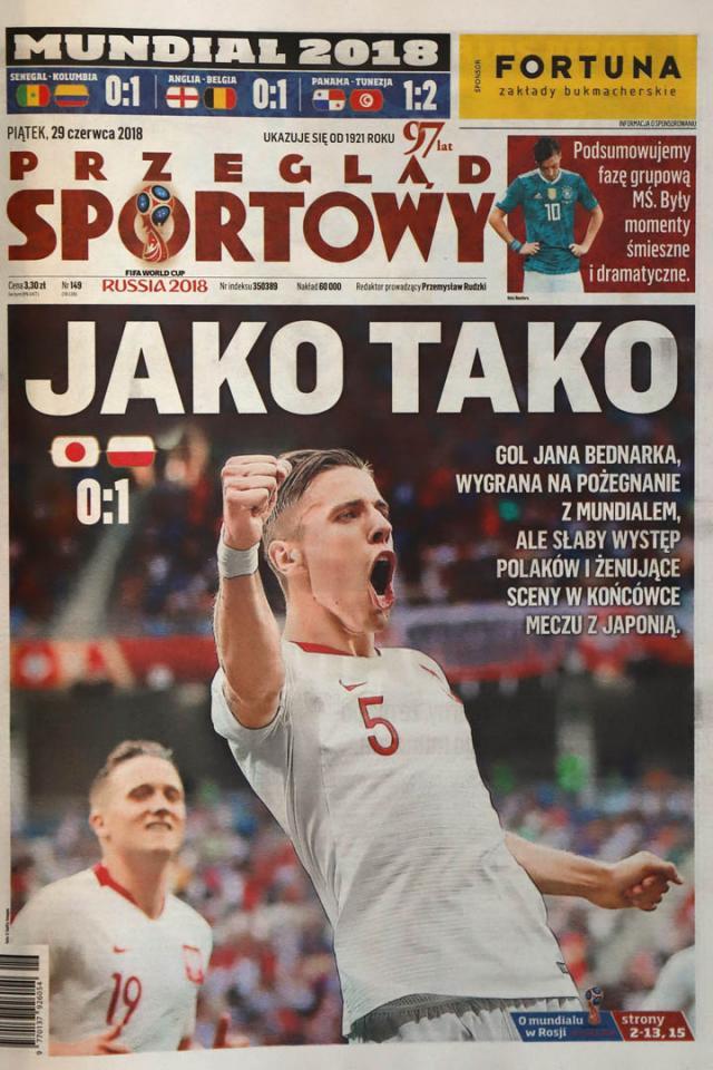 Okładka przeglądu sportowego po meczu Polska - Japonia (28.06.2018)