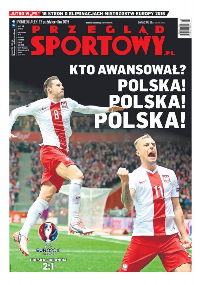 Okładka przeglądu sportowego po meczu Polska - Irlandia (11.10.2015)