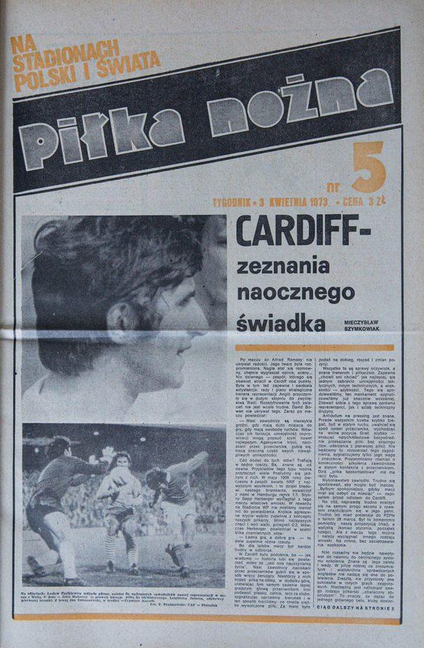 Okładka piłki nożnej po meczu Walia - Polska (28.03.1973)